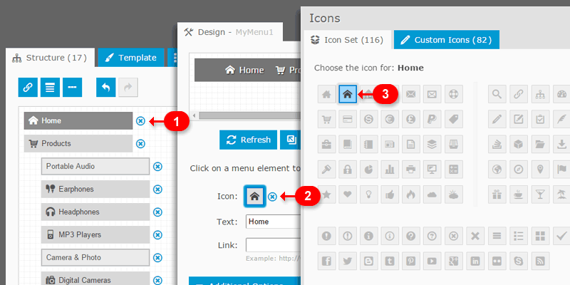 Drop-Down Menu with Icons