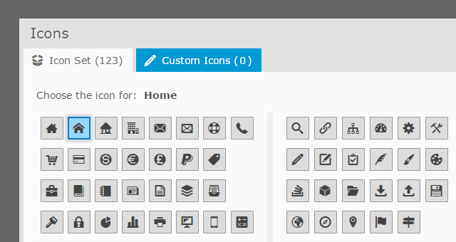 Icons for Drop-Down Menu