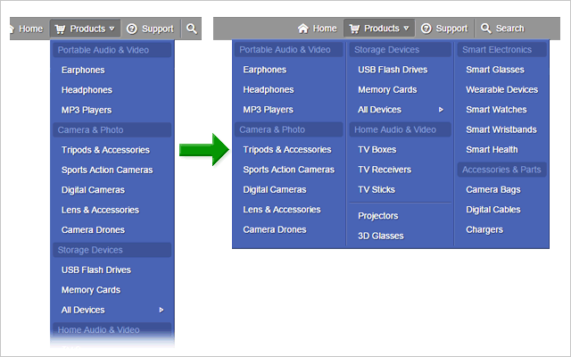 Multiple-column drop-down menu
